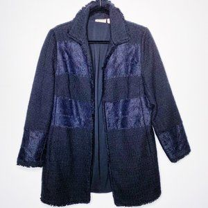Chicos Tweed Lace Panel Blazer Coat